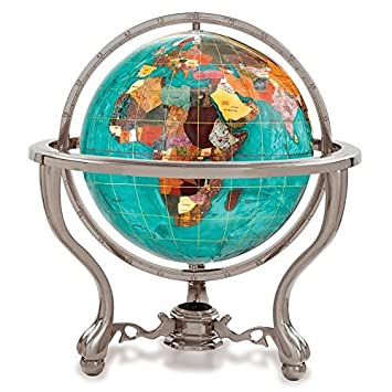 KALIFANO 4 Gemstone Globe w/ Bahama Blue Opalite Ocean & Antique Silver Commander 3-Leg Table Stand by Alexander Kalifano