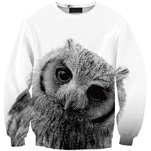 YICHUN camiseta de las mujeres Ocio Tops niñas fina Sudaderas impresión Pullovers Jersey Casual blusa Owl 15#