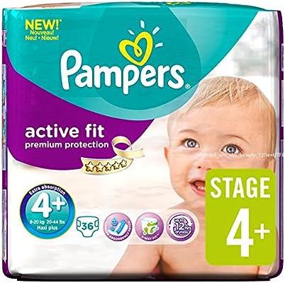 Pampers Activo Fit Pañales Tamaño 4+ Esencial Pack de 36 por paquete: Amazon.es: Salud y cuidado personal
