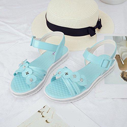 Scothen Las mujeres de las sandalias romanas Sandalias Sandalias de cuña tirón del verano zapatos planos del estilo de Bohemia diamantes de imitación Roman del tobillo Trenzado T-Correa sandalias Blue