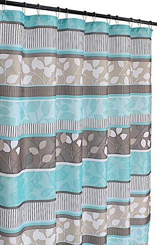 Aqua Blue Fabric Shower Curtain: Primitive Striped Floral Design, 70 by 72 Inches, Teal Aqua Brown Beige (Rugs Brown Teal Bathroom And)
