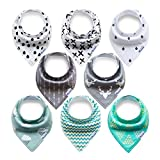 8-Pack Baby Bandana Bibs Upsimples Drool Bibs for Baby Drooling and Teething,with 4 Straps for Teething Toys,Baby Shower Gift Set