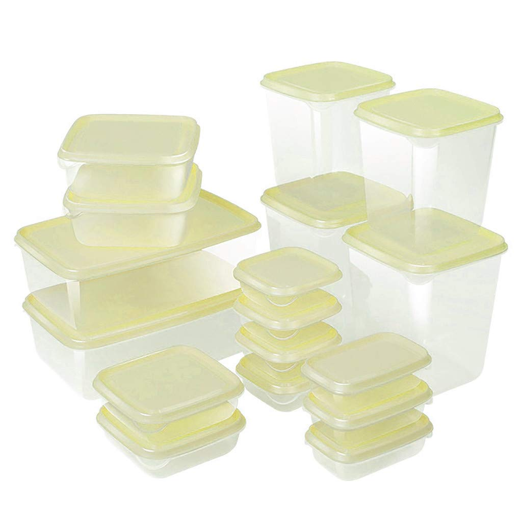 Kitchen Refrigerator Food Preservation Container Storage Boxes Set of 17Pcs,Onegirl Transparent Storage Box Containers Sealing Food Preservation PP Fresh Pot Container Boxes (Green)
