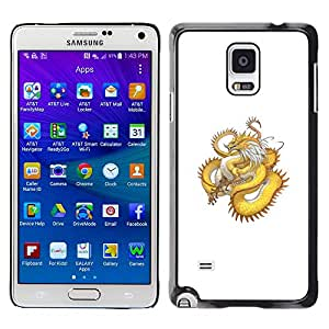 A-type Colorful Printed Hard Protective Back Case Cover Shell Skin for Samsung Galaxy Note 4 IV / SM-N910F / SM-N910K / SM-N910C / SM-N910W8 / SM-N910U / SM-N910G ( Golden Yellow Dragon Serpent Long Tail )