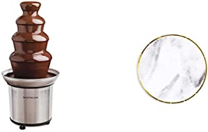 Nostalgia CFF986 4-Tier Stainless Steel Chocolate Fondue Fountain with Sugar and ClothInch round Dessert Paper Plate, Marble with Gold Edge, 24 Count