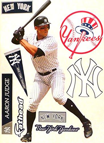 FATHEAD Aaron Judge New York Yankees Logo Set Official MLB Peel Stick Re-Usable Vinyl Wall Graphics 17