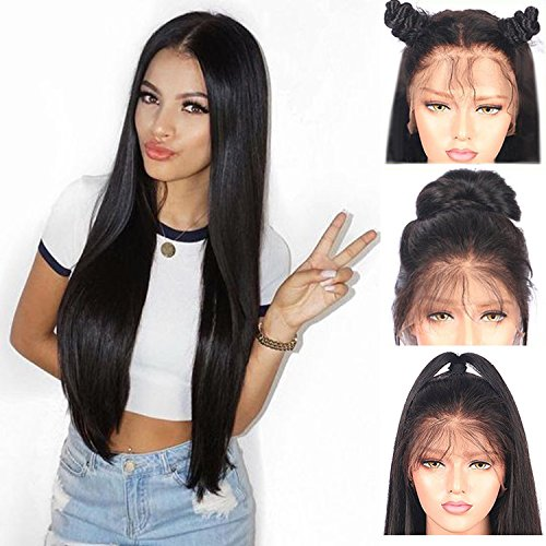 "Price comparison product image Andria Hair Lace Front Wig Synthetic Wigs Heat Resistant Hair Long Straight Synthetic Hair Wigs with Baby Hair Bleached Knots Pre Plucked Wigs for Black Women ( Black Hair 24"" )"