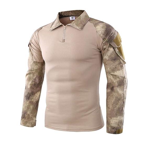 Táctica para Hombres Camuflaje Musculoso de Manga Larga Blusa básica sólida Camiseta Top de Internet.: Amazon.es: Ropa y accesorios