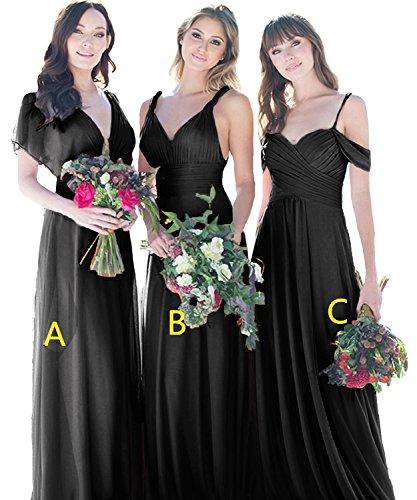 Cdress V-cou Longues Robes De Demoiselle D'honneur Robes De Soirée Bal En Mousseline De Soie Robe De Soirée De Mariage Maxi Noir B