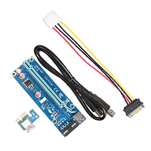 LINESO 6Pack PCIe VER 006 PCI-E 1X to 16X Powered Riser Adapter Card w/60 cm USB 3.0 Extension Cable & MOLEX to SATA Power Cable - GPU Riser Adapter Ethereum Mining ETH (6-Pack V006) by LINESO (Image #2)