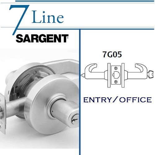 SARGENT 7G05-LP-26D :7 SERIES CYLINDRICAL LOCK IN SATIN CHROME by Sargent