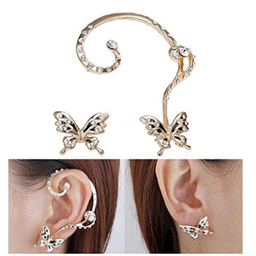 KISSFRIDAY White Enameled Butterfly Earring Studs, Punk Dancing Earring Clasp for - Enameled Stud