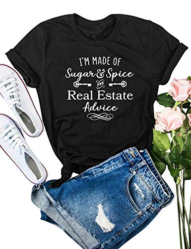 ZXH Women I'm Made of Sugar Spice and Real Estate Advice Letter T-Shirts Casual Short Sleeve Tops Black from ZXH
