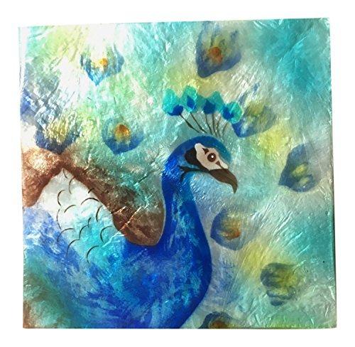 Capiz Shell Keepsake Box, Peacock in Blue, 4