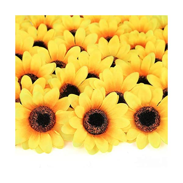 Mocoosy 100Pcs Artificial Silk Sunflower Heads 3″- Yellow Sunflowers Bulk Small Fake Sun Flowers for Decorations Wedding Birthday Baby Shower Party Artificial Floral Crafts Accessories DIY