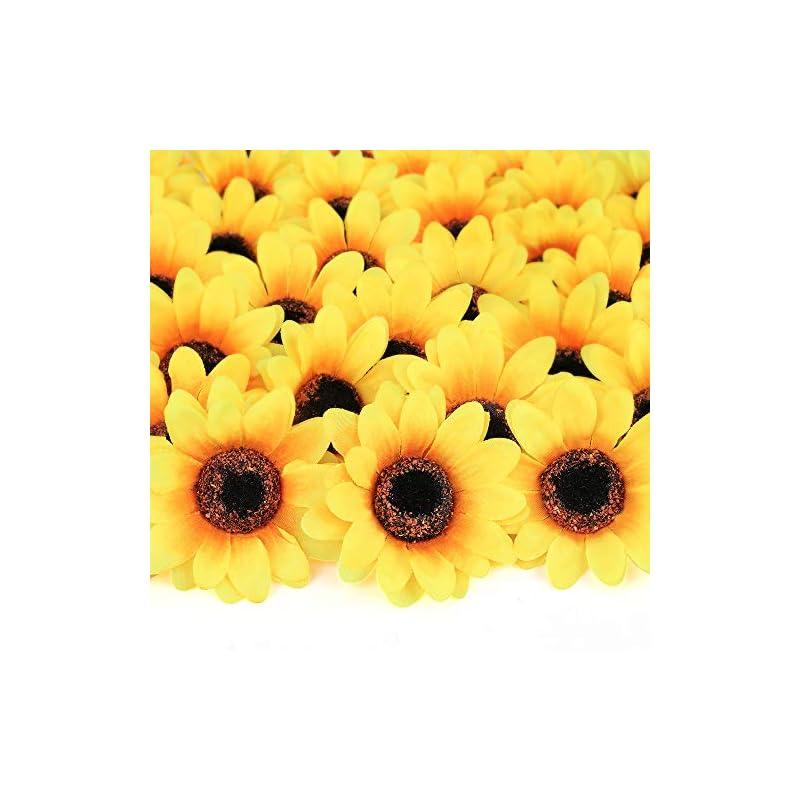 "silk flower arrangements mocoosy 100pcs artificial sunflower heads - 2.8"" fake sunflowers yellow small silk sun flowers bulk for wedding home party decoration fake flower crafts accessories diy decor"