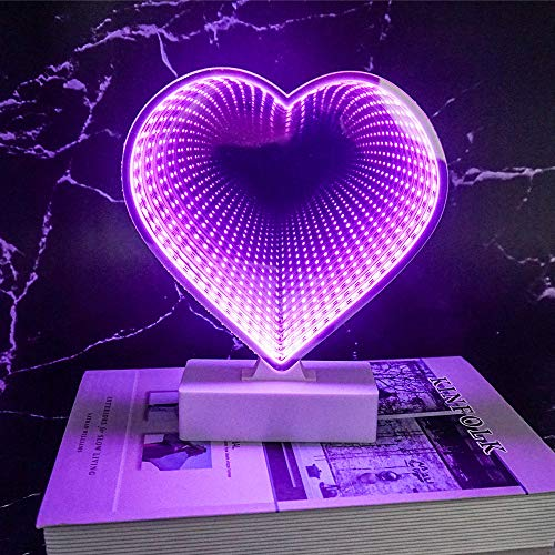LED Tunnel Infinity Heart Shape Night Light Lamp, 3D Mirror Battery Operated/USB Cable Light for Birthday Party Wedding Kids Room Living Room Home Garden Christmas Gift -Pink ()