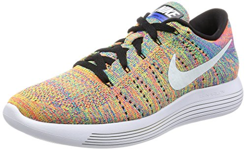 Nike Men's Lunarepic Low Flyknit Running Shoe Black/White-Racer Blue-Total Crimson 9 D(M) US (Nike Flyknit Racer Black White For Sale)