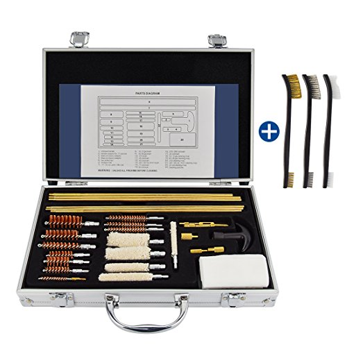 Fyland 32 PCS Universal Gun Cleaning Kit for Rifles, Pistols and Shotguns, with Carrying Case ()