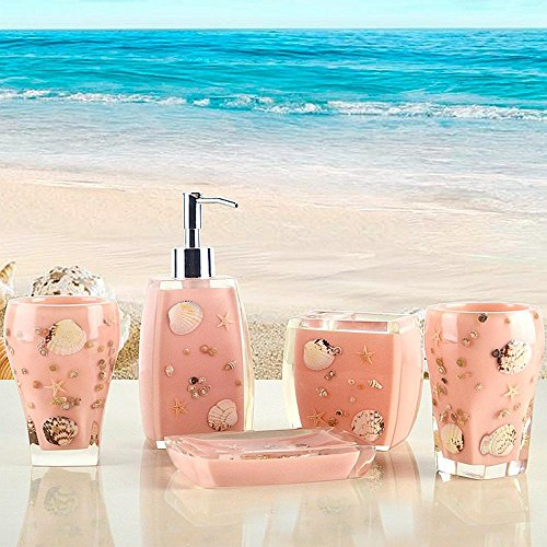 (SAEJJ-Bathroom ideas style garden resin conch shell pink with five piece of cover Bath ensemble)
