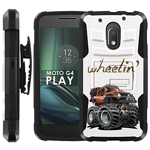 Motorola Moto G Play [4th Gen] Armor Case [Case86] [Black/Black] Dual Hybrid Armor Phone Case - [Monster Truck] for Moto [G4 - Case G Moto Monster