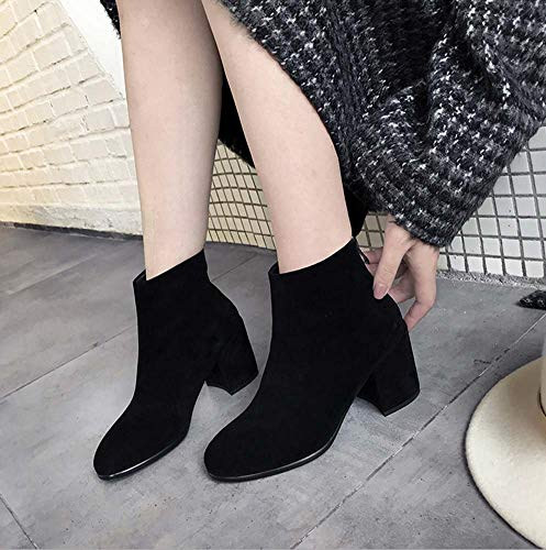 Zapatos Gamuza Duuqili Botines Toe Ronda 34eu Botas Calzado Grueso Mujer Cremallera black Chelsea Corto Bota Tobillo De r7wrdq8