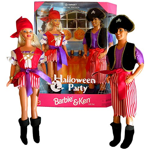 Mattel Year 1998 Barbie Special Edition Series Target Exclusive 12 Inch Doll Set - Halloween Party with Barbie Doll in Pirate Costume with Boots, Bracelets, Earrings and Hairbrush Plus Ken Doll in Pirate Shirt, Vest, Pants with Sash, Captain Hat, Eye Patch, Boots and Earring -