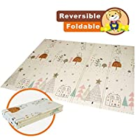 Baby Folding mat Play mat Extra Large Foam playmat Crawl mat Reversible Waterproof Portable Double Sides Kids Baby Toddler Outdoor or Indoor Use Non Toxic, Colorful(57x76x0.4in)