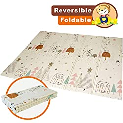 Baby Play mat Folding Baby Care XPE playmat Foam Floor Slip Extra Large Foam Reversible Waterproof Portable Double Sides Kids Baby Toddler Outdoor or Indoor Use Non Toxic, Colorful(57x76x0.4in)