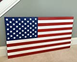 Cheap 36″ x 19″ Large Hand-Crafted 100% Made in U.S.A. Wood American Flag/Patriotic Wall Art Americana, Original Colors