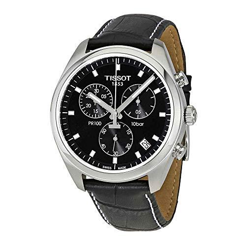 Tissot Men's 'Pr 100' Swiss Quartz Stainless Steel and Leather Dress Watch, Color:Black (Model: T1014171605100) (Bezel Flag Dial)
