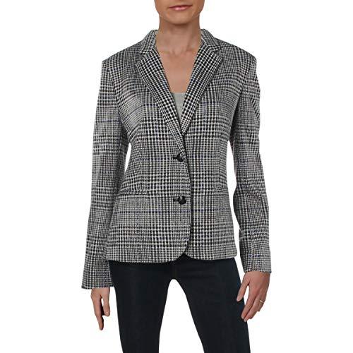 - LAUREN RALPH LAUREN Womens Jesuki Houndstooth Office Two-Button Blazer Black 10