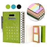 Betterhill Hardcover Spiral Notebook B5 with Solar Calculator, Sticky Notes, Card Slot and Pen For Business Office (Green)