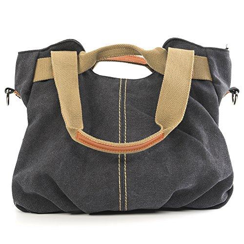 Handbags Handbags Casual Shoulder Bag Multifunction Bags Womens Fashion Canvas Fabric B-black