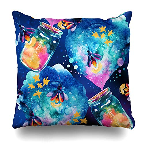 - Ahawoso Throw Pillow Cover Candle Abstract Fairy Tale Magic Bottle Firefly Watercol Lantern for Childish Hand Nature Design Decorative Zipper Cushion Case Square 16