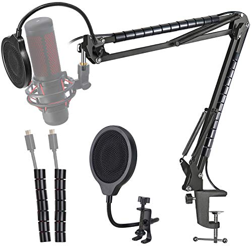 Hyperx Quadcast Mic Stand with Pop Filter - Scissor Mic Boom Arm and 3 Layers Windscreen Compatible with Hyperx Quadcast S to Improve Sound Quality by YOUSHARES