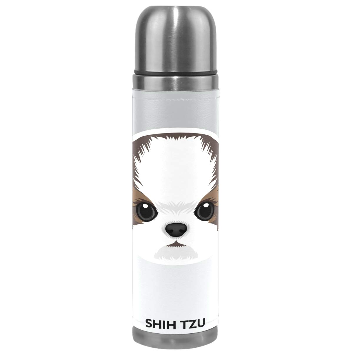 Wamika Cute Dog Pattern Vacuum Insulated Stainless Steel Water Bottle, Shih Tzu Puppy Funny Pets Animals Sports Coffee Travel Mug Thermos Cup Genuine Leather Cover Double Walled BPA Free 17 OZ