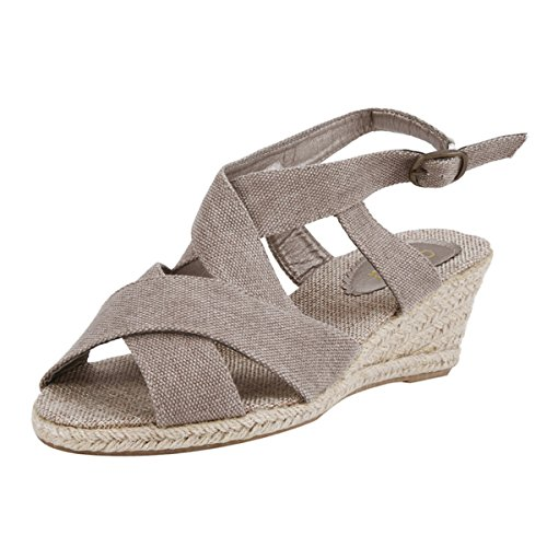 Damara Dames Geweven Slipsole Strappy Open-toe Sandalen Kaki