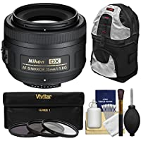 Nikon 35mm f/1.8 G DX AF-S Nikkor Lens with 3 Filters + Sling Backpack + Kit for D3200, D3300, D5300, D5500, D7100, D7200 Cameras