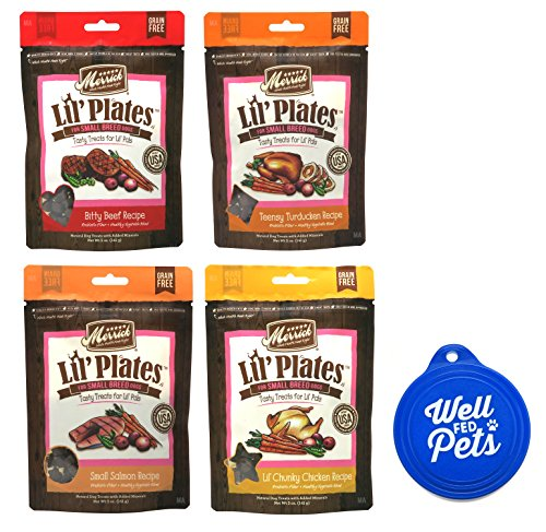 Merrick Lil Plates Lil' Small Breed Chewy Dog Treat Variety Pack, 4 Flavors, 5-Ounces Each (4 Total Pouches) (Lid Plate Pet)