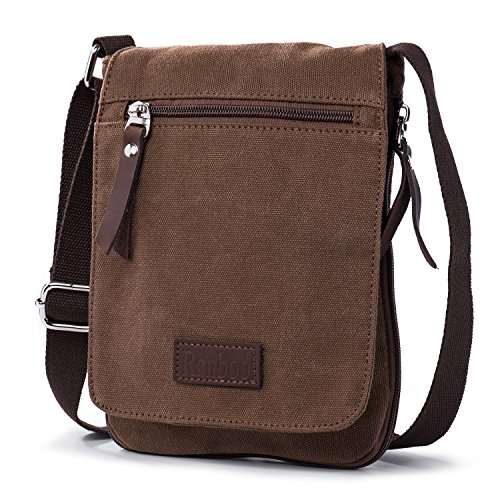 Ranboo Small Crossbody Purse Men Satchel Shoulder Bags Cellphone Holster Belt Pouch Handbag Everyday Bag Waist Pack Organizer Lightweight Canvas Messenger Bags Wallet for Men Work Travel Sport (Side Zip Satchel)