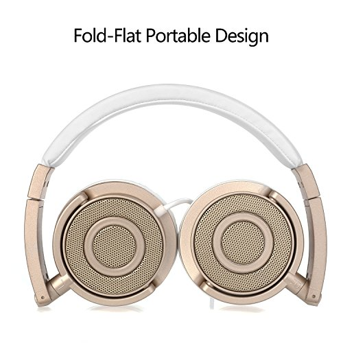 On Ear Headphones with Mic, Vogek Wired Foldable Bass Headphones with Volume Control and Microphone-Gold