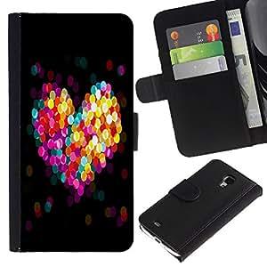 Samsung Galaxy S4 Mini i9190 / i9195 (Not For Galaxy S4) , la tarjeta de Crédito Slots PU Funda de cuero Monedero caso cubierta de piel (Bokeh Colorful Heart)