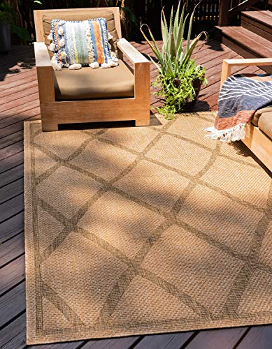 Unique Loom Outdoor Trellis Collection Geometric Lattice Transitional Indoor and Outdoor Flatweave Light Brown  Area Rug (7' 0 x 10' 0) Brown Transitional Area Rug
