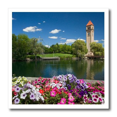 3dRose USA, Washington, Spokane, Riverfront Park, Spokane River, Clock Tower-Iron on Heat Transfer, 10 by 10