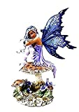 """Custom & Unique {7"""" Inch} 1 Single Large, Home & Garden """"Standing"""" Figurine Decoration Made of Resin w/ Realistic Fairy Of The Fae Gothic Violet Style {Purple, Black, & White}"""