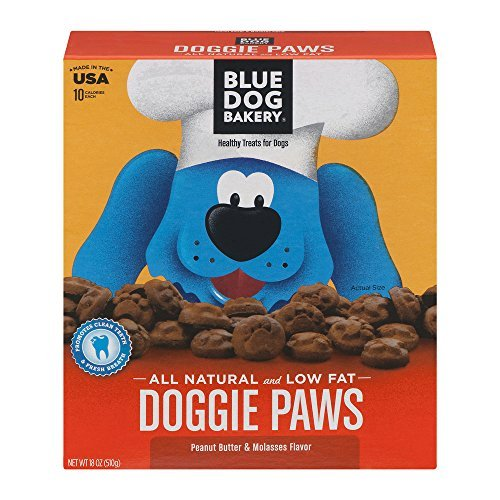 Blue Dog Bakery Healthy Treats For Dogs Doggie Paws Peanut Butter & Molasses, 18.0 OZ (Dog Bakery Low Fat)
