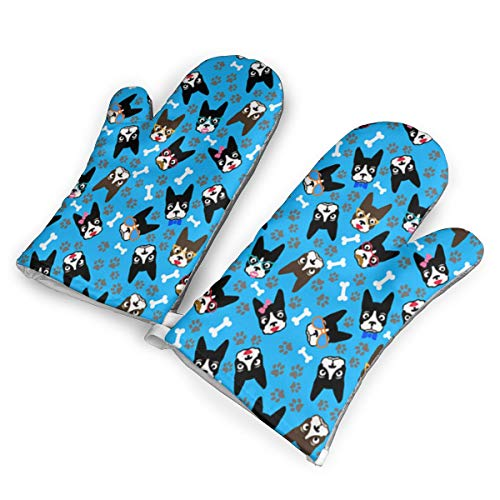 (DRAMA QUEEN Oven Mitts Set Funny Dog Boston Terrier Advanced Heat Resistant Microwave Non-Slip Oven Mitts for Cooking Baking)