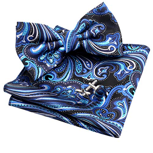 Alizeal Mens Multi-color Floral Pre-tied Bow Tie, Pocket Square and Cufflinks Set, Black+Royal Blue+Turquoise