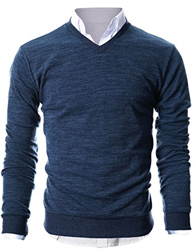 Ohoo Mens Slim Fit Light Weight V-Neck Pullover Sweater/DCP015-NAVY-S